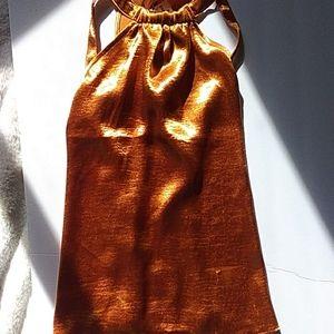 Express Tops - Express Metallic Orange Top